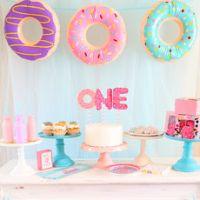 Аппетитные пончики в оформлении детского дня рождения