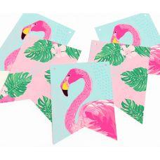"""Гирлянда прямоугольная """"Алоха"""" фламинго, мятная"""