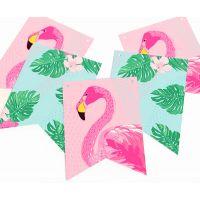"""Гирлянда прямоугольная """"Алоха"""" фламинго, розовая"""