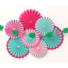 """Набор веерных кругов фанты """"Алоха"""" с гирляндой из фламинго и листьев"""