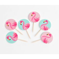 "Топперы круглые ""Алоха"" фламинго, мини"