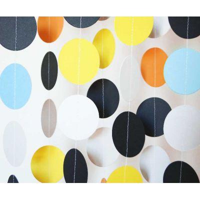 Гирлянда-круги. Желтый. Черный. Оранжевый. Голубой