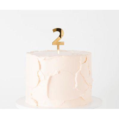 """Топпер золотой акриловый для торта """"2"""""""