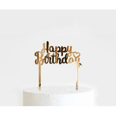 """Топпер золотой акриловый для торта """"Happy Birthday"""""""