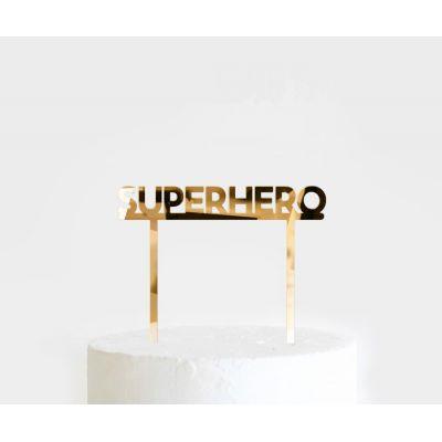 """Топпер золотой акриловый для торта """"Супергерои"""""""