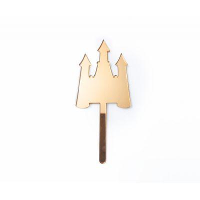 """Топпер золотой акриловый для торта """"Замок"""""""