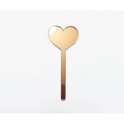 """Топпер золотой акриловый для торта """"Сердце"""""""