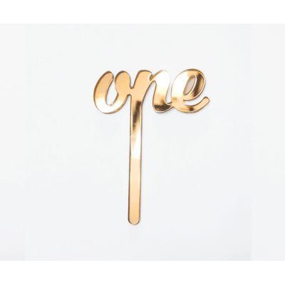 """Топпер золотой акриловый для торта """"One"""""""