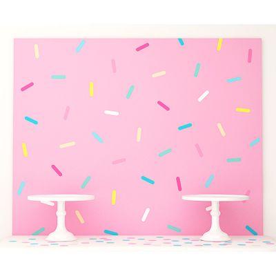 """Фотозона за сладкий стол 120х100 см """"Пончики"""" розовый с конфетти"""