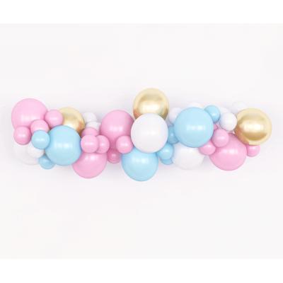 Гирлянда из воздушных шаров. Розовые, голубые, белые, золотистые