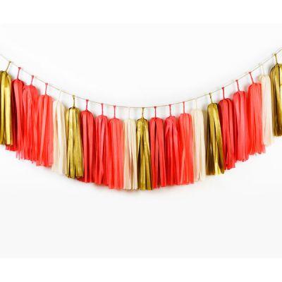 Тассел гирлянда. Красный, белый, матовый золотой цвета