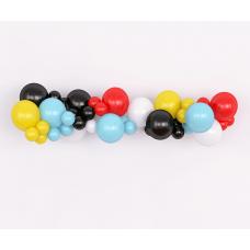 Гирлянда из воздушных шаров. Голубые, красные, желтые, черные, белые