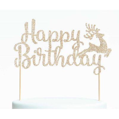 """Топпер для торта """"Happy Birthday-2.Оленёнок"""""""