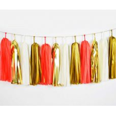 Тассел гирлянда. Красный, белый, золотой цвета