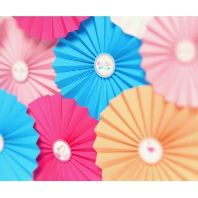 """Фотозона из веерных кругов """"Розовый фламинго"""""""