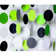Гирлянда-круги. Зеленый. Черный. Салатовый. Белый