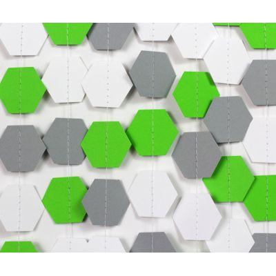 Гирлянда фигурная из шестигранников. Зеленый, серый, белый цвет