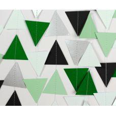 Гирлянда фигурная из мини-треугольников. Зеленый, серый, белый цвет