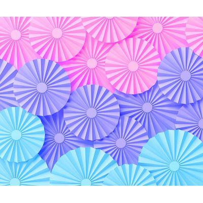 Фотозона из веерных кругов. Голубой, сиреневый, розовый цвета