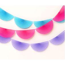 Сет веерных гирлянд. Голубая, розовая, сиреневая 3 шт
