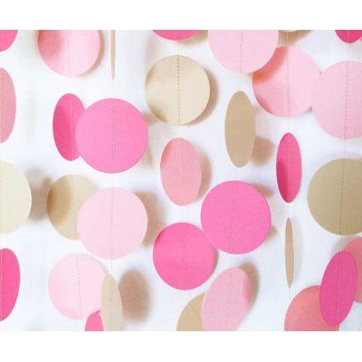 Гирлянда-круги. Оттенки розового. Бежевый