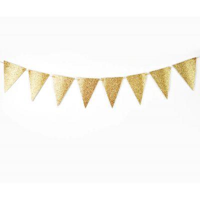 Золотая треугольная гирлянда. Блестки