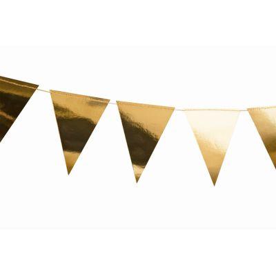 Фольгированная треугольная гирлянда, золотая