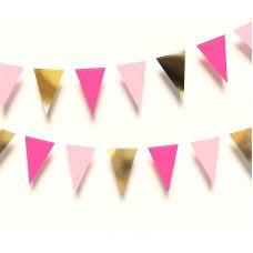 Гирлянда флажки треугольная. Розовый, фуксия, золотой цвета