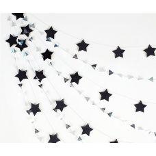 """Сет гирлянд """"Черные звезды. Серебряные мини-треугольники"""""""