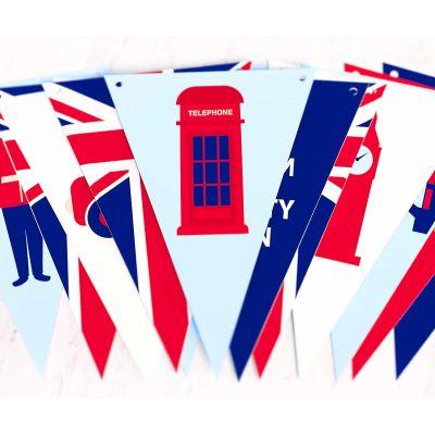 """Растяжка из флажков треугольников """"Великобритания"""""""