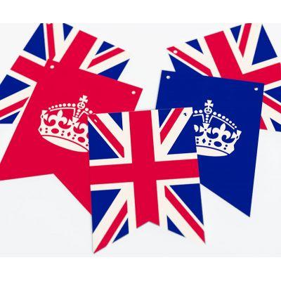 """Растяжка флажки прямоугольные """"Великобритания"""" корона"""