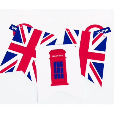 """Растяжка флажки прямоугольные """"Великобритания"""" телефонная будка, метро"""