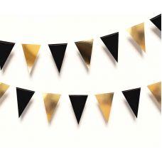 Гирлянда флажки треугольная. Черный, золотой цвета