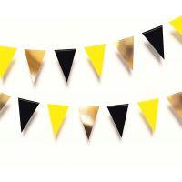 Гирлянда флажки треугольная. Черный, желтый, золотой цвета