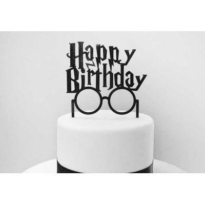 """Топпер черный акриловый для торта """"Гарри Поттер"""" Happy Birthday"""