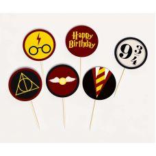 """Топперы круглые """"Гарри Поттер"""" Happy birthday, мини"""