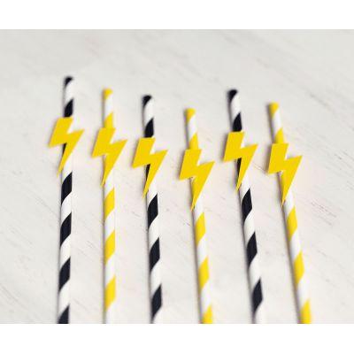 """Набор бумажных трубочек """"Желтая молния"""". Черные, желтые."""