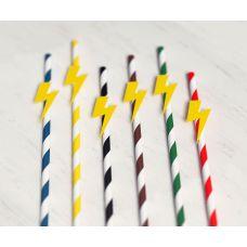 """Набор бумажных трубочек """"Желтая молния"""". Красные, синие, желтые, коричневые, зеленые, черные."""