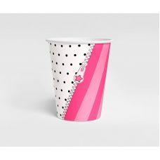 """Стаканчик """"LOL"""" белый в горох, розовая полоска"""