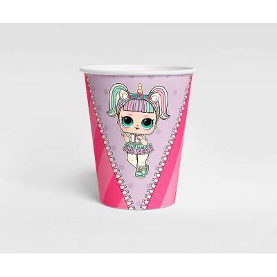 """Стаканчик """"Кукла LOL"""" сиреневый горох, розовая полоска"""