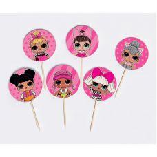 "Топперы круглые ""Куклы LOL"" розовые, мини"