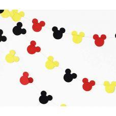 """Гирлянда фигурная """"Микки Маус"""" красный, черный, желтый цвета"""