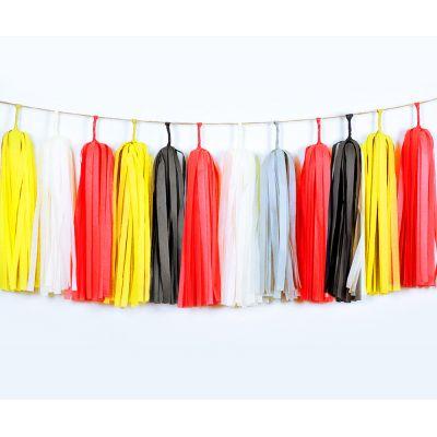 Тассел гирлянда. Красный, черный, желтый цвета.