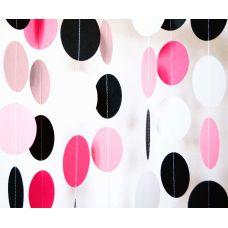 Гирлянда-круги. Нежно-розовый. Белый. Фуксия. Черный