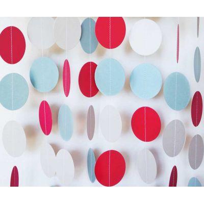 Гирлянда-круги. Голубой. Красный. Белый