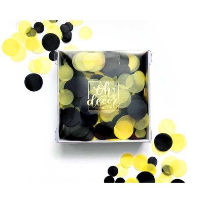 Микс конфетти. Коробка. Желтый, черный.