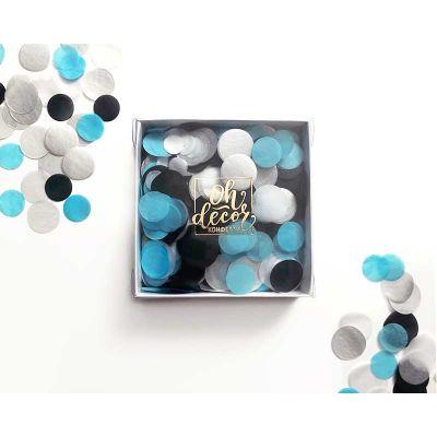 Конфетти черный, голубой, белый цвета. Коробка