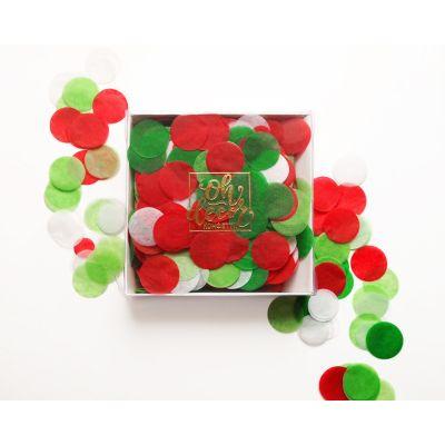 """Конфетти """"Зеленый, салатовый, красный, белый цвета"""". Коробка"""