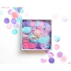 Конфетти розовый, голубой, сиреневый цвета. Коробка