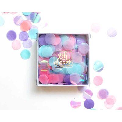 Конфетти розовый, голубой, сиреневый цвета. Коробка 25 гр.